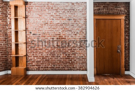 Flat Brick Wall Perspective and Shelf Perfect for Painting or Picture Frame Addition - stock photo