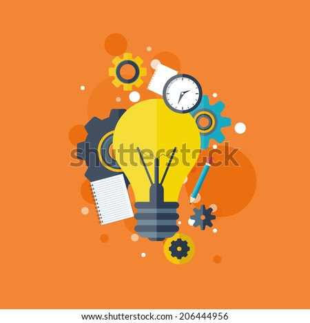 Flat bulb. Education concept background. Success achievement. - stock photo