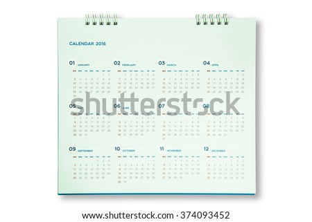 Flat calendar for 2016 year - stock photo