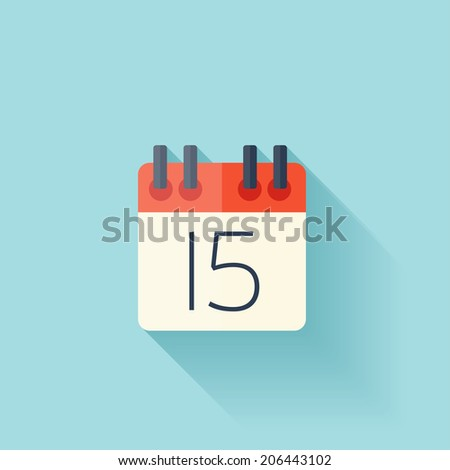 Flat calendar icon. Date and time background. - stock photo