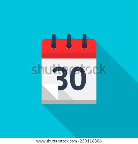 Flat calendar icon. Date and time background. Number 30 - stock photo