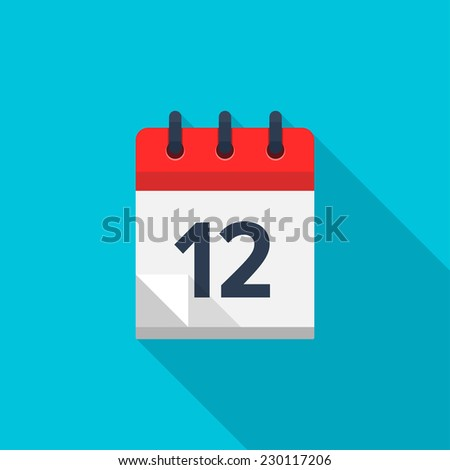 Flat calendar icon. Date and time background. Number 12 - stock photo