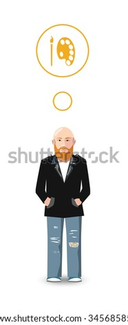 Flat cartoon character, artist with profession icon - stock photo