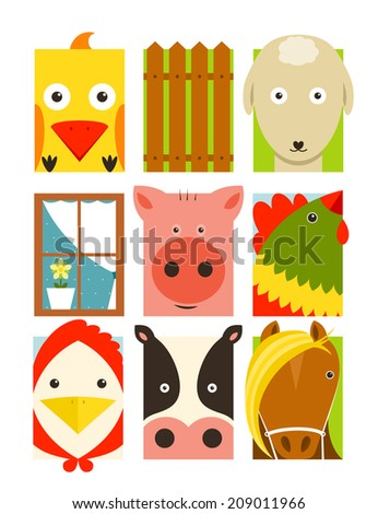 Flat Childish Rectangular Cattle Farm Animals Set. Animals design collection.  Raster variant. - stock photo