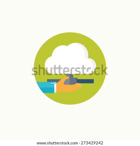 Flat cloud computing background. Data storage network technology. Multimedia content and web sites hosting. - stock photo