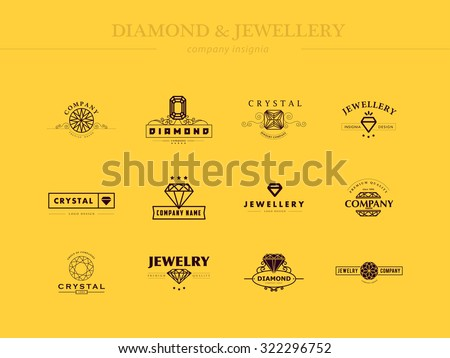 Flat collection of jewellery and diamond logos. Flat crystal company insignia template. Vintage logo design. - stock photo