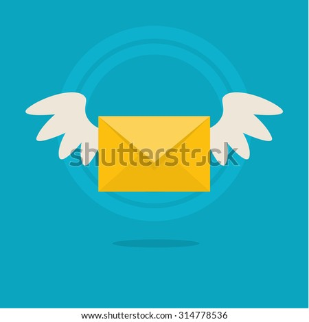 Flat colorful icon with fly letter or Short Message Service SMS. Messaging concept - stock photo