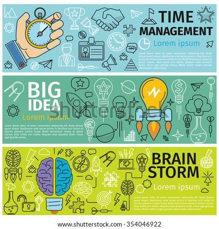Flat concept banners of Time management, Creative design, Big Idea, Brainstorm. Line art icons  Innovation and solution. business idea.  - stock photo