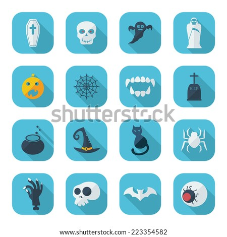 Flat concept, set modern design with shadow icons for web design and mobile applications, SEO. search Engine Optimization:  halloween - stock photo