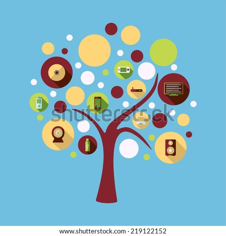 Flat concept, set modern design with shadow vector icons for web design and mobile applications, SEO. search Engine Optimization: technology - stock photo