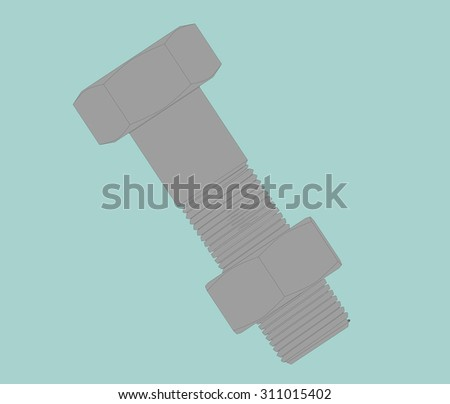 Flat Conceptual Illustration of Bolt and Nut on a green background - stock photo