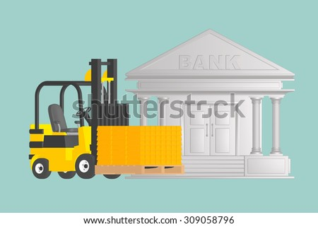 Flat Conceptual Illustration of Forklift with  Golden Bars near Bank on a green background - stock photo