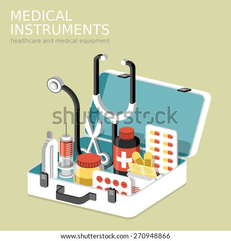 flat 3d isometric infographic for medical instruments with aid kit - stock photo