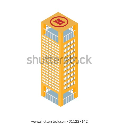 flat 3d isometric skyscraper business center on the roof helipad. Isolated on white background.  for games, icons, maps. - stock photo