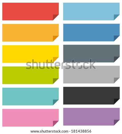 Flat design bookmarks banners or important note display set. - stock photo
