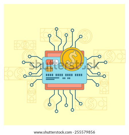 Flat design colored illustration concept for electronic money, mobile banking and online payment isolated on stylish background. Raster version - stock photo