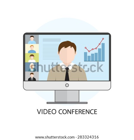 Flat design colorful vector illustration concept for video conference, online learning, professional lectures in internet. Isolated on white background - stock photo