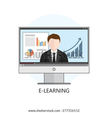 Flat design colorful vector illustration concept for webinar, online learning, professional lectures in internet. Isolated on white background - stock photo