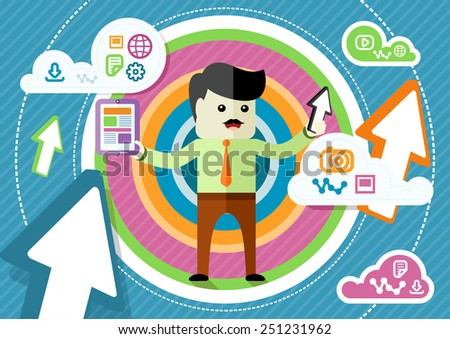 Flat design concept for cloud storage with mustached businessman sharing information with digital tablet in hand on abstract colorful background. Raster version - stock photo