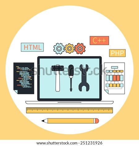 Flat design concept for web development with laptop, tools, programing code in circle frame on yellow background. Raster version - stock photo