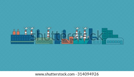 Flat design concept illustration with icons of urban landscape and industrial factory buildings. Thin line icons.  - stock photo