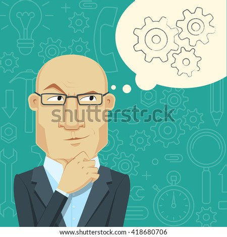 Flat Design Concept of Generate Ideas. A thinking man. The process of the emergence of new ideas. Cartoon  illustration. - stock photo