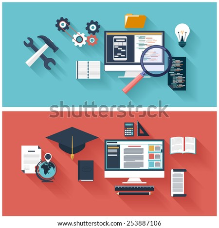 Flat design concept of program coding laptop. Concept for online education, distance learning, creative thinking, innovations with computer. Raster version - stock photo