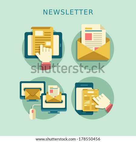 flat design concept of regularly distributed news publication via e-mail with some topics of interest to its subscribers - stock photo
