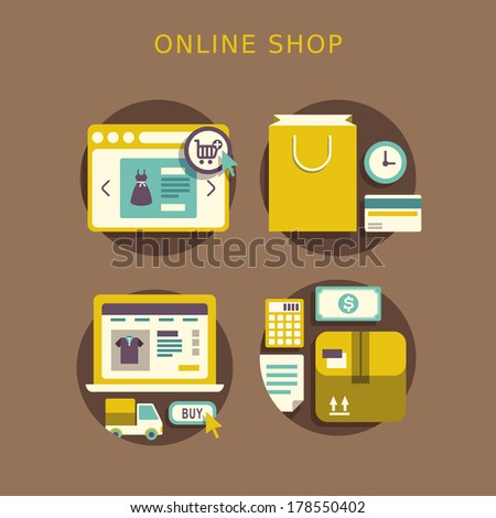 flat design concept with icons of buying product via online shop ideas symbol and shopping elements - stock photo