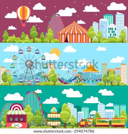 Flat design conceptual city banners with carousels. Slides and swings, ferris wheel attraction - stock photo