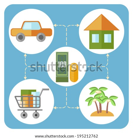 Flat design diagram showing main household expenses - stock photo