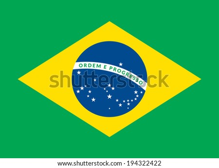 Flat design green soccer field, brazil flag,  background illustration