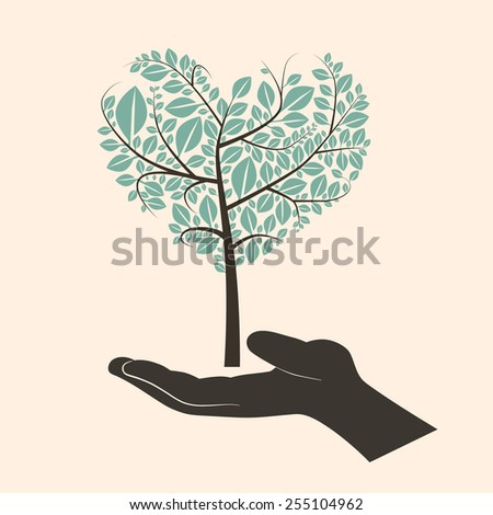 Flat Design Heart Shaped Abstract Green Tree in Silhouette Human Hand - stock photo
