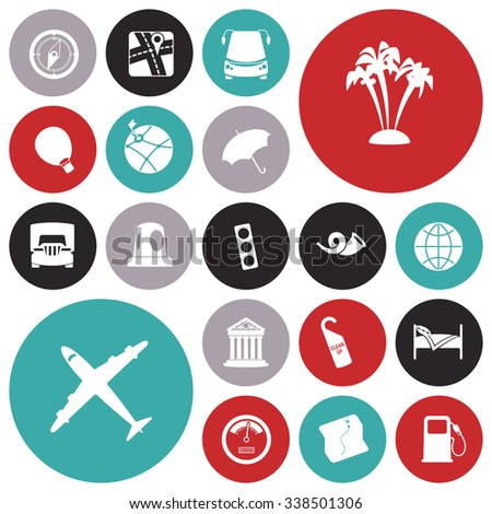 Flat design icons for travel and transportation. - stock photo