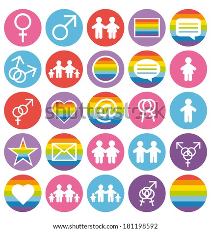 Flat design. Love, family and gays icons set. - stock photo