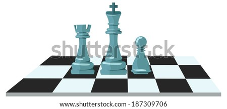 Flat design modern illustration concept of business strategy with chess figures on a chess board - stock photo