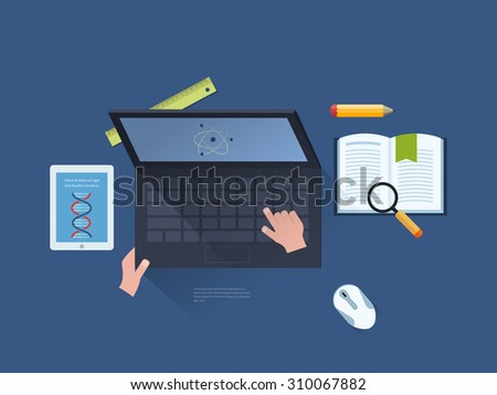 Flat design modern illustration icons set of online education and e-learning. User choose online course. Online course proposes access through laptop, tablet, manual. - stock photo