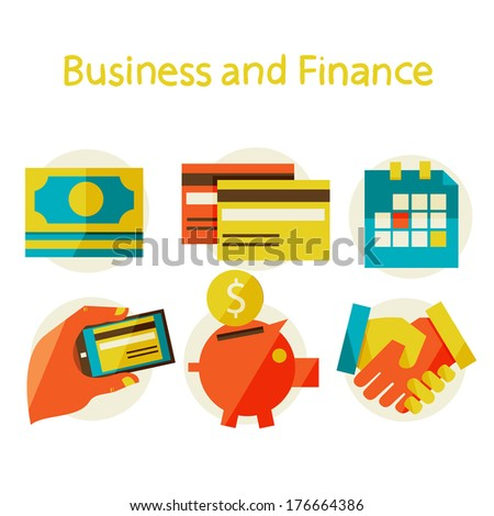 Flat design modern illustration in stylish colors. finance and business concept. - stock photo