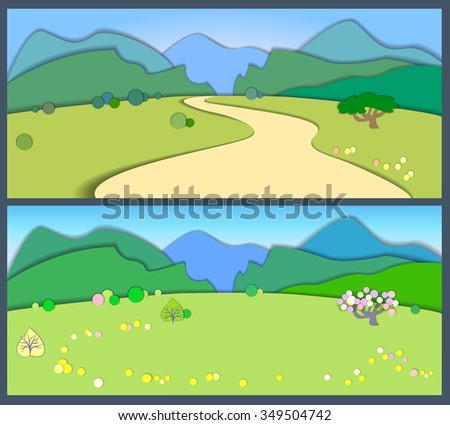 Flat design nature landscape illustration with blue  mountains, hills and trees . Flat style land scenic.Summertime and spring.Effect of application.Paper cut style.