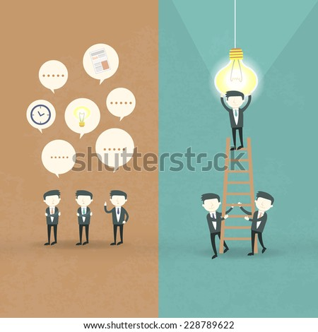 flat design of businessmen cooperation concept over orange and blue - stock photo