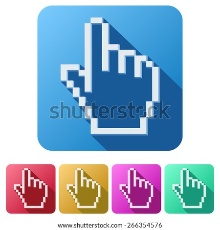 Flat design of Pixel cursor icon click mouse hand.