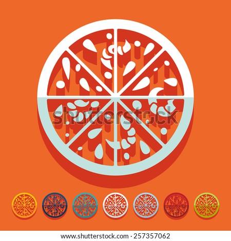 Flat design. pizza - stock photo