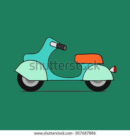 flat design scooter. Classic moped, side view, isolated