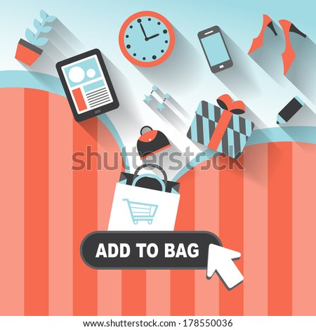flat design style concept of add to bag - stock photo