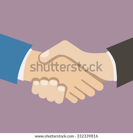 Flat Design Style Icon Businessman partnership handshake