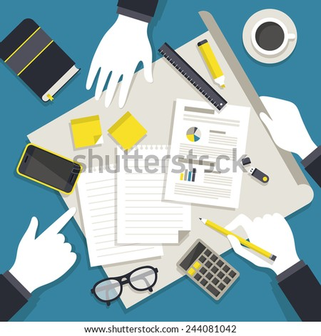 flat design style modern illustration of teamwork concept - stock photo