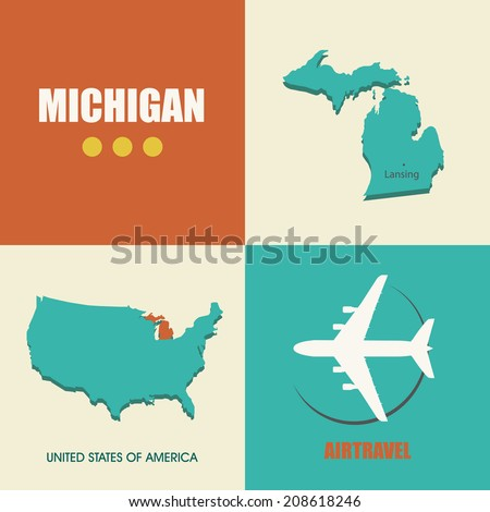 flat design with map Michigan concept for air travel - stock photo