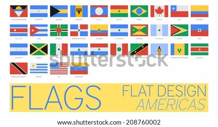 Flat Flags America 2014 - stock photo