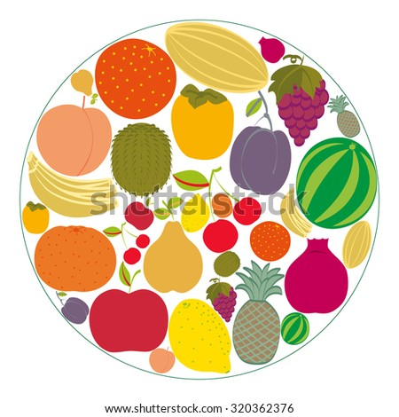 Flat fruit icons gathered in a circle. Rasterized version. - stock photo