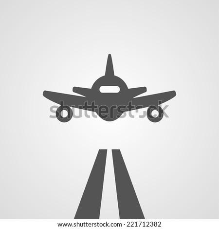 Flat gray landing plane abstract digital illustration - stock photo